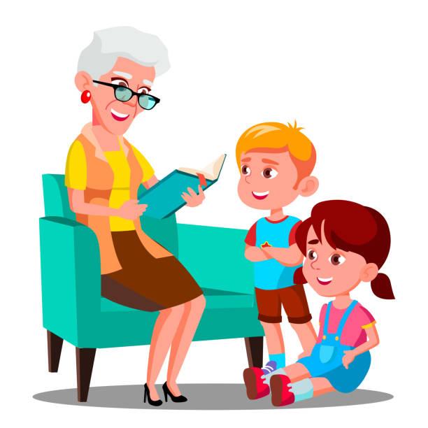 ilustraciones, imágenes clip art, dibujos animados e iconos de stock de abuela está leyendo un libro a su vector de nietos. aislados ilustración - nietos