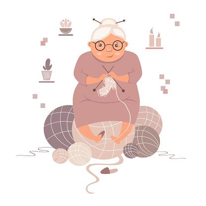 grandmother knits a sock