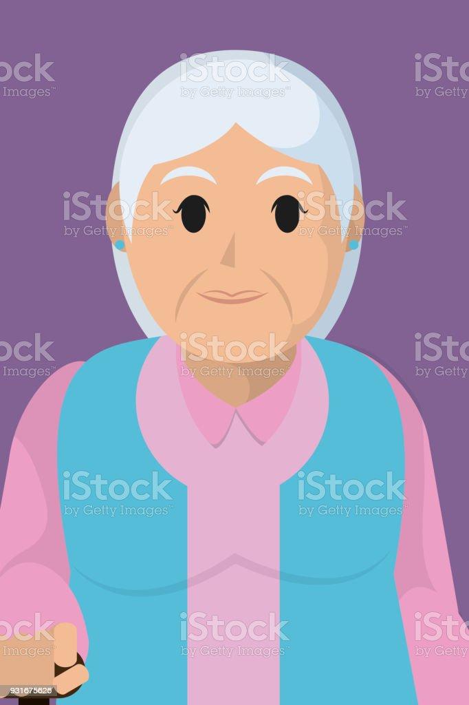 Grandmother profile cartoon vector art illustration