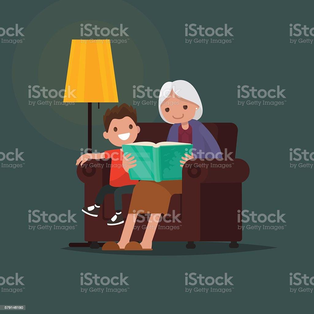 Grandmother reading a book grandson. Vector illustration vector art illustration