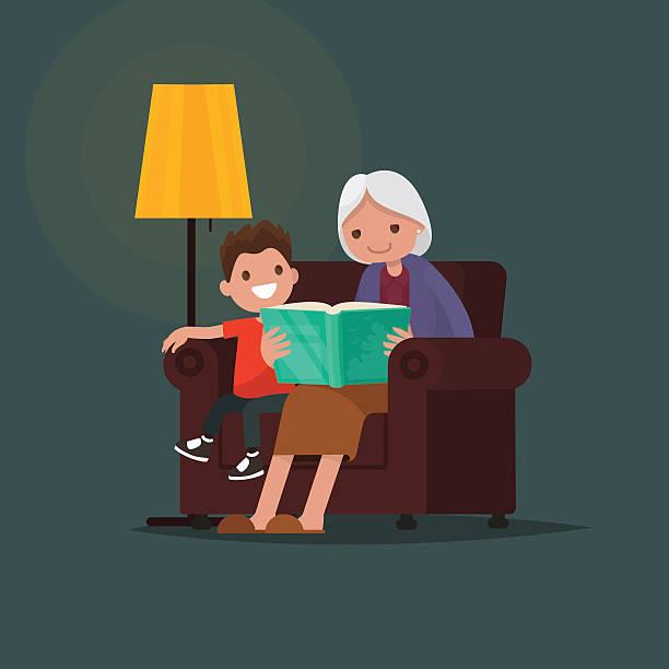 ilustraciones, imágenes clip art, dibujos animados e iconos de stock de grandmother reading a book grandson. vector illustration - nieto