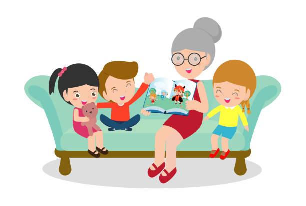 Avó lendo contos de fadas para seus netos, lendo e contando a história de conto de fadas de livro, crianças ouvindo sua avó contar uma história, ilustração vetorial - ilustração de arte em vetor
