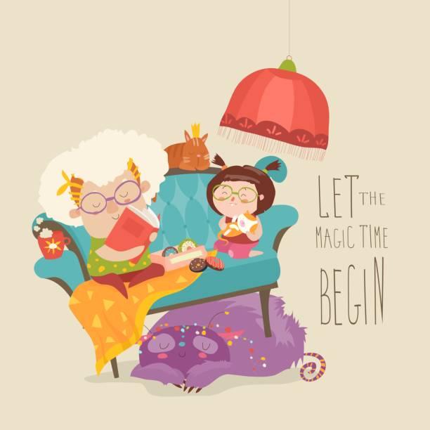 ilustraciones, imágenes clip art, dibujos animados e iconos de stock de abuela leyendo cuentos de hadas a su nieta - nieta
