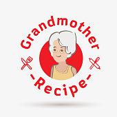 grandmother recipe logo template. logo for restaurant or homemade cooking - vector illustration