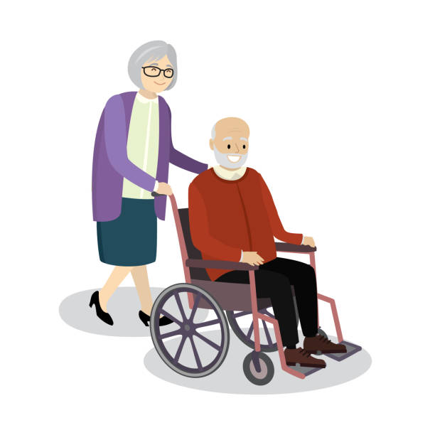 grandmother rolls wheelchair in which sitting old man - old man clipart stock illustrations, clip art, cartoons, & icons
