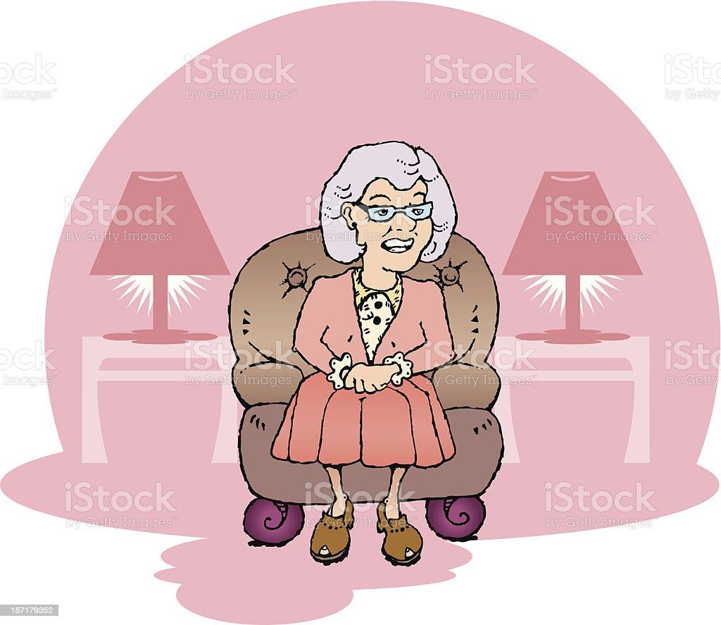 Abuela sentado en una silla de cuero - ilustración de arte vectorial