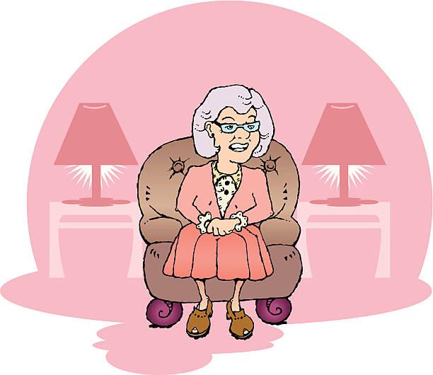 祖母ラウンジには、レザー製の椅子 - 老年医学点のイラスト素材/クリップアート素材/マンガ素材/アイコン素材