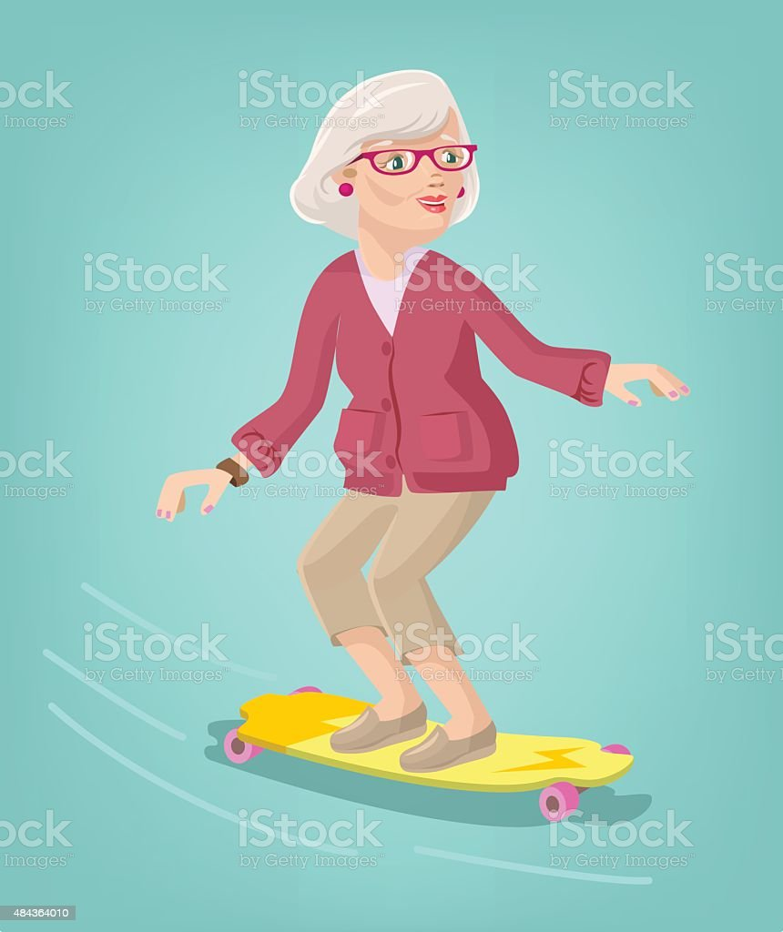 Grandmother skater. Vector cartoon flat illustration vector art illustration