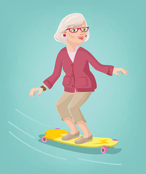 grandmother skater. vector cartoon flat illustration - old man hats pictures stock illustrations, clip art, cartoons, & icons