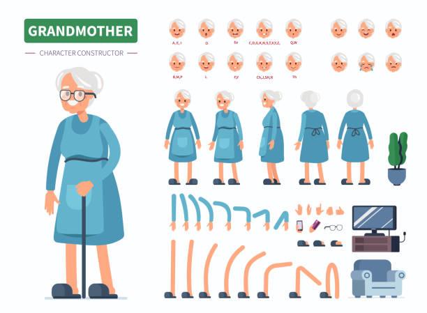 illustrations, cliparts, dessins animés et icônes de grand-mère - seulement des femmes seniors