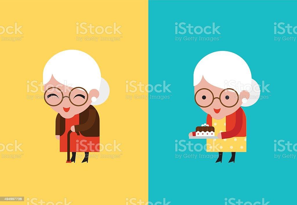 Abuela ilustración vectorial - ilustración de arte vectorial