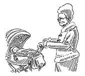 Grandmother Walking Baby Stroller Drawing
