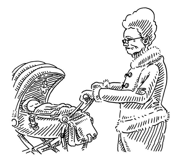illustrazioni stock, clip art, cartoni animati e icone di tendenza di grandmother walking baby stroller drawing - nonna e nipote camminare