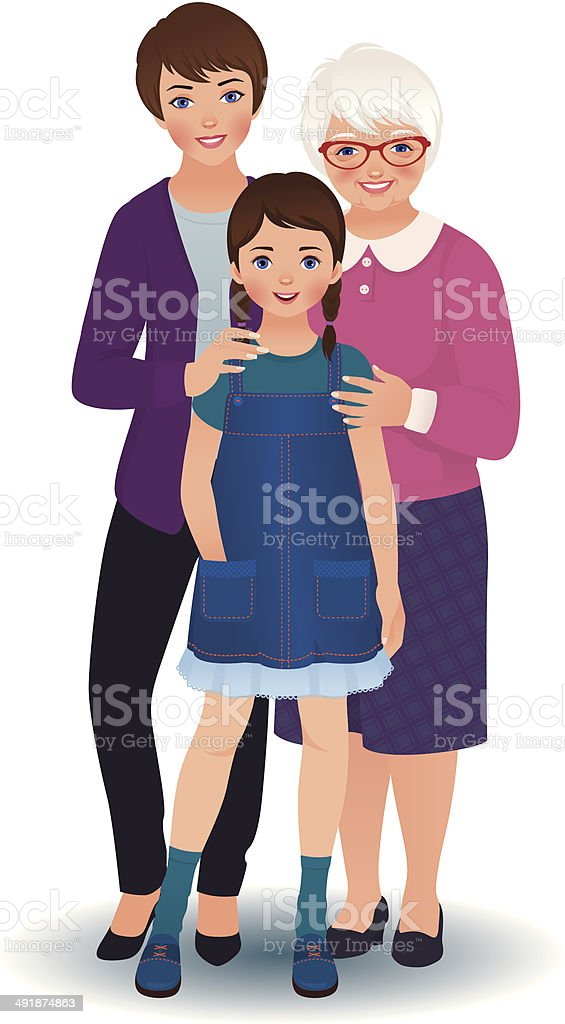 Grandmother with daughter and granddaughter vector art illustration
