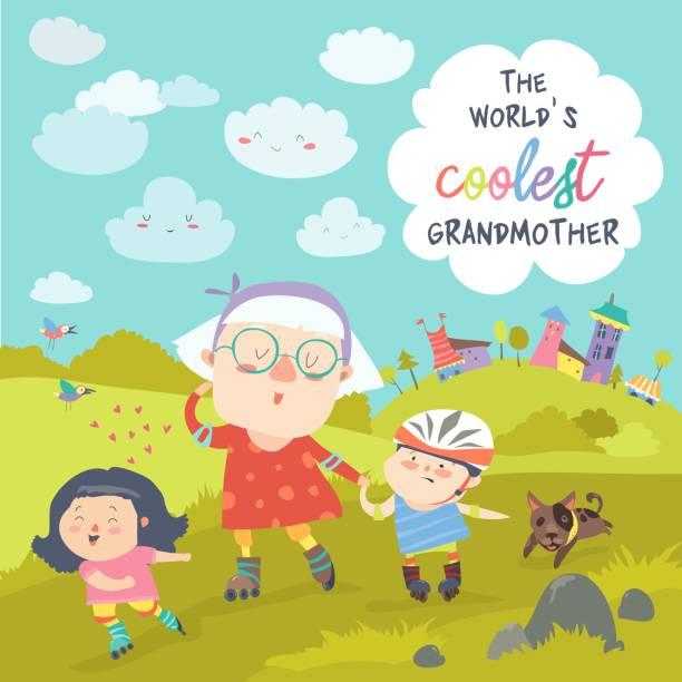 illustrazioni stock, clip art, cartoni animati e icone di tendenza di grandmother with her happy grandchildren skate on rollers - nonna e nipote camminare