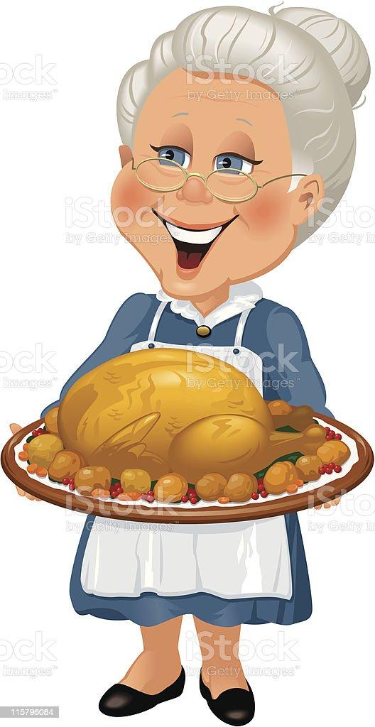 Grandmother with turkey dinner vector art illustration