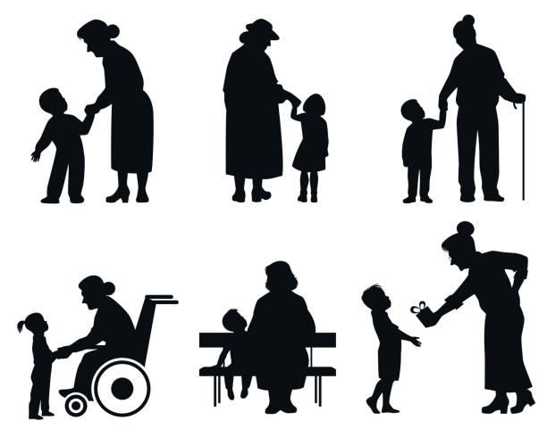 ilustraciones, imágenes clip art, dibujos animados e iconos de stock de grandmothers and grandson silhouettes - nieto