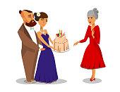 Grandmother's Birthday Party Flat Illustration
