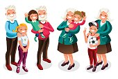 Grandpa and grandma with children cartoon characters. Vector people cartoon collection.