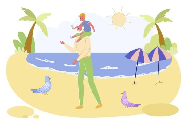illustrazioni stock, clip art, cartoni animati e icone di tendenza di grandpa and grandson walking along ocean beach - nonna e nipote camminare
