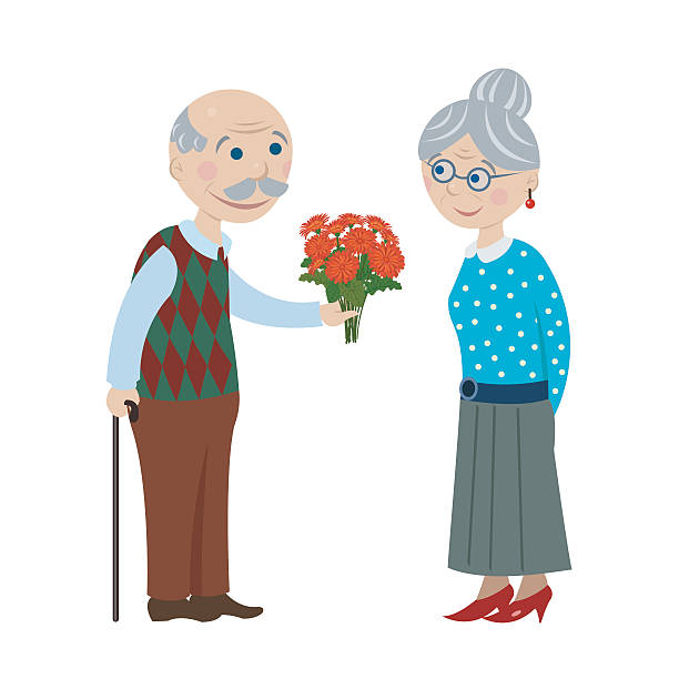 bildbanksillustrationer, clip art samt tecknat material och ikoner med grandpa gives flowers grandmother - middle aged man dating