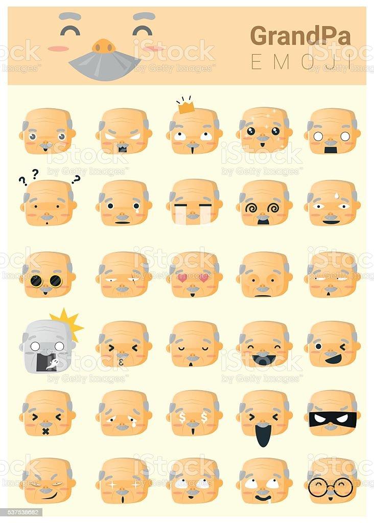 El abuelo imoji iconos - ilustración de arte vectorial