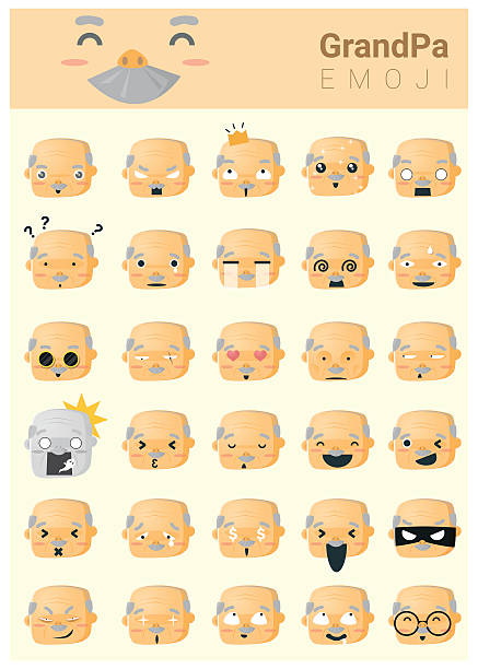 grandpa imoji icons - old man sleeping silhouettes stock illustrations, clip art, cartoons, & icons