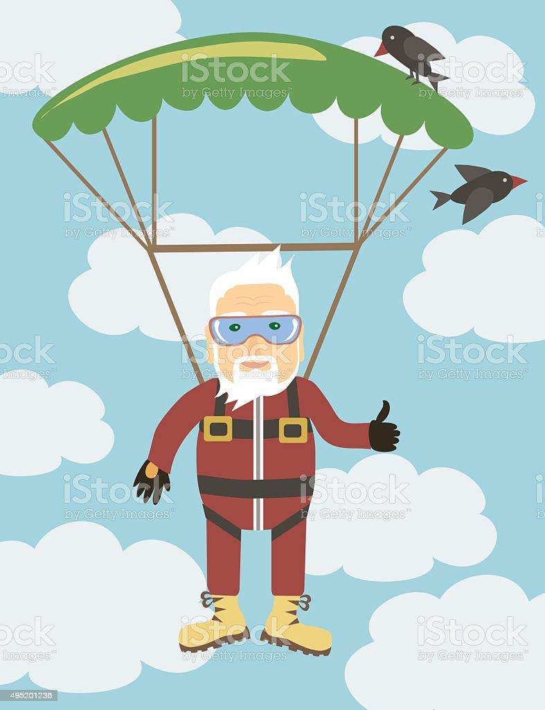 grandpa jumping with a parachute vector art illustration