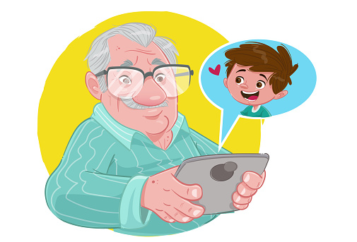 Grandpa on tablet (Stay at home)