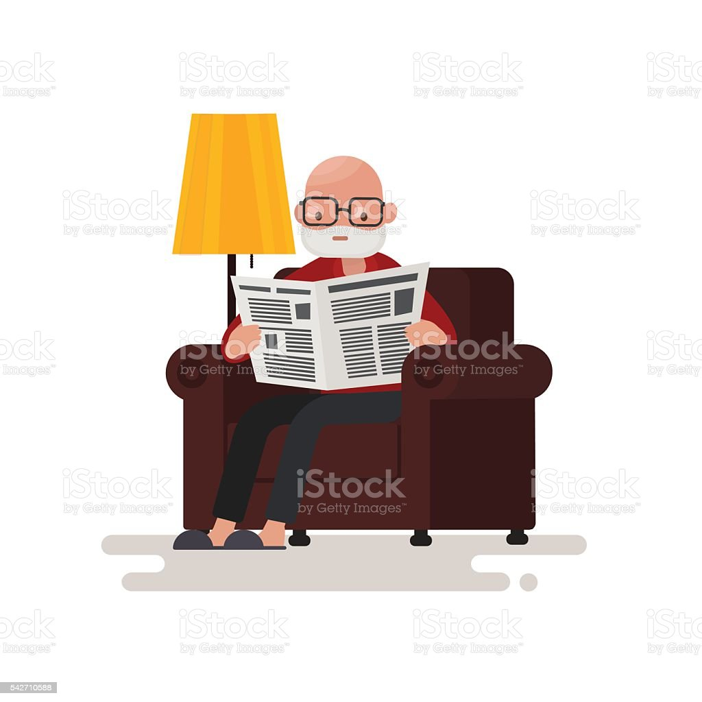 Grandpa reading the newspaper while sitting in a chair. vector art illustration