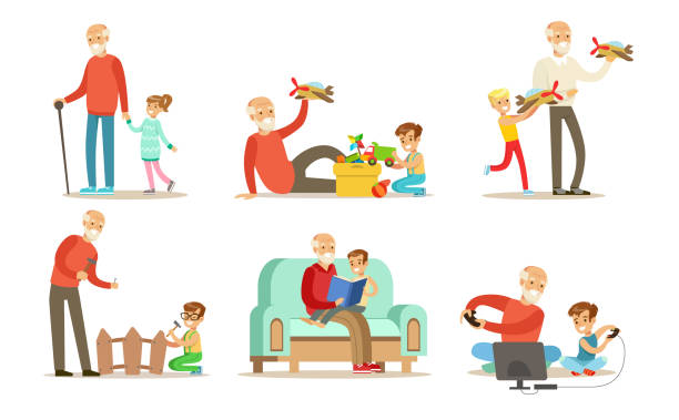 ilustrações de stock, clip art, desenhos animados e ícones de grandpa spending time with grandchild set, grandfathers playing, walking, reading books and having fun with their grandchildren vector illustrations on a white background - man joystick