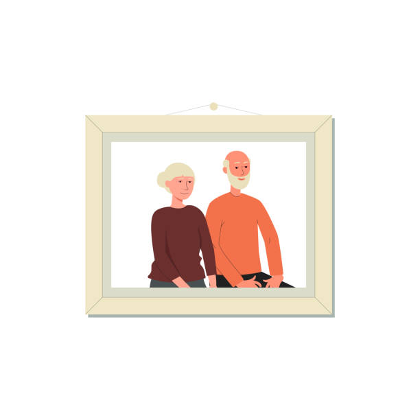 grandparent couple portrait inside picture frame - cartoon old people - old man pic cartoons stock illustrations