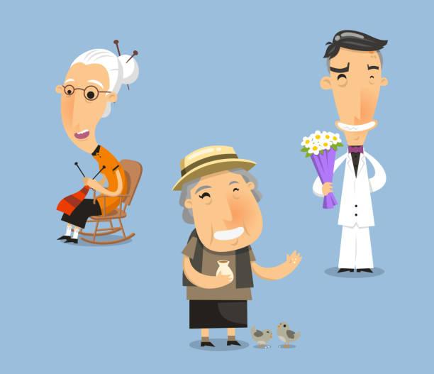 Großeltern Großmutter Großvater Großvater granny Alter Erwachsener – Vektorgrafik