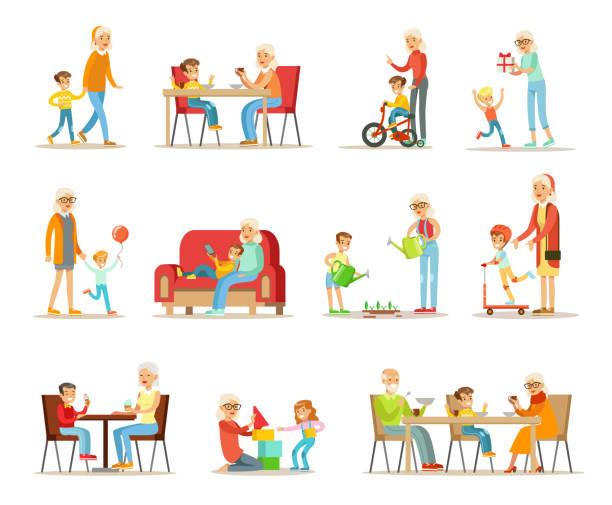 großeltern verbringen zeit mit enkel, oma und opa spielen, wandern, lesen bücher, essen mit enkel vektor illustrationen auf weißem hintergrund - gartensofa stock-grafiken, -clipart, -cartoons und -symbole