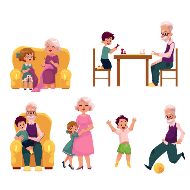 grandparent spending time with grandchildren - old man playing chess silhouettes stock illustrations, clip art, cartoons, & icons