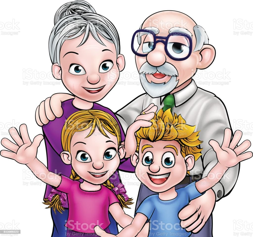 grandparents and children stock vector art more images of 50 59