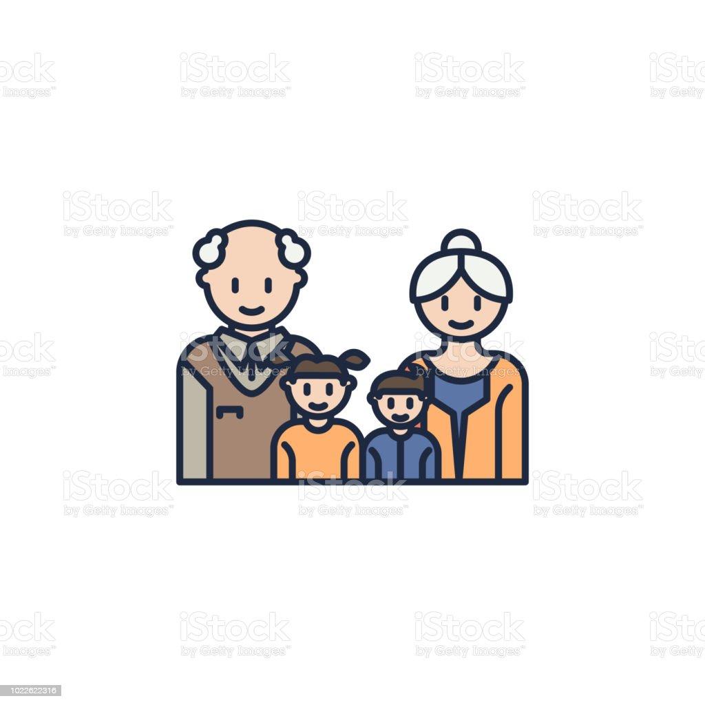 gro eltern und enkelkinder farbiges symbol element der familie symbol f r mobile konzept und. Black Bedroom Furniture Sets. Home Design Ideas