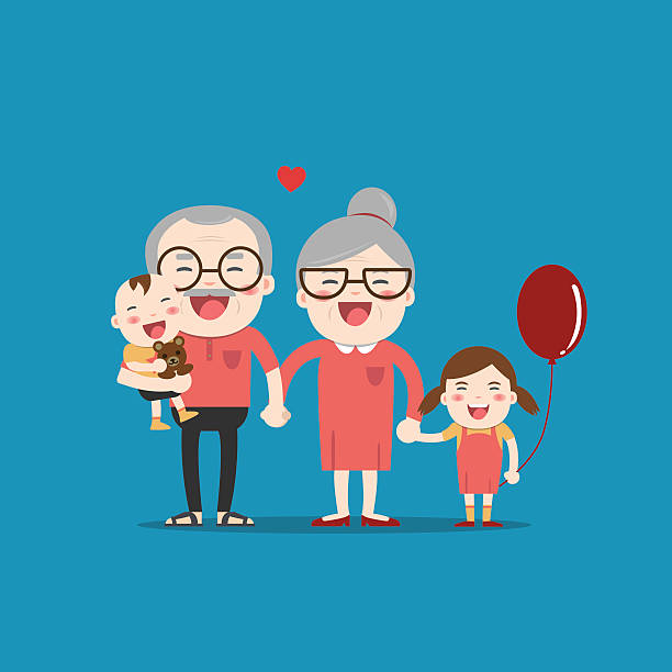 ilustraciones, imágenes clip art, dibujos animados e iconos de stock de grandparents and grandchildren. happy grandparents - abuelos