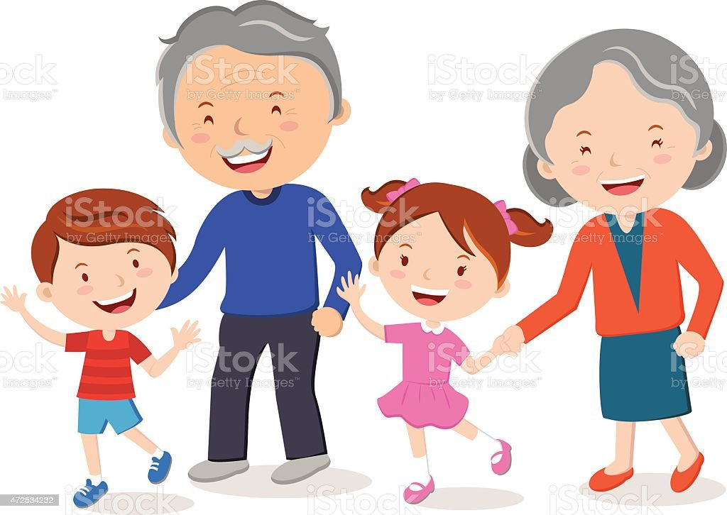 Grandparents and grandchildren. vector art illustration