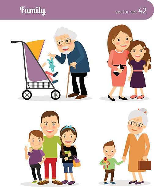 ilustraciones, imágenes clip art, dibujos animados e iconos de stock de abuelos y nietos - nieto