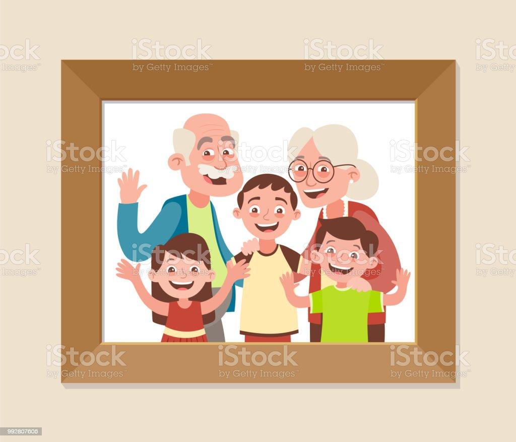 祖父母と孫 ベクターアートイラスト