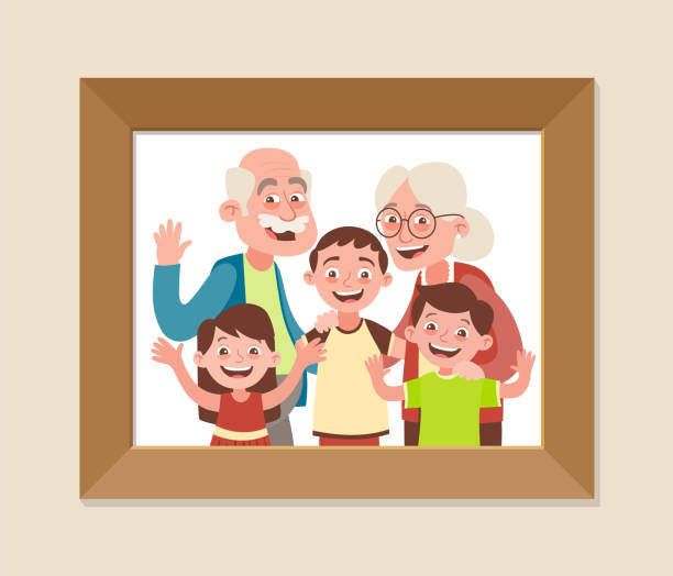 Grandparents and grandchildren vector art illustration