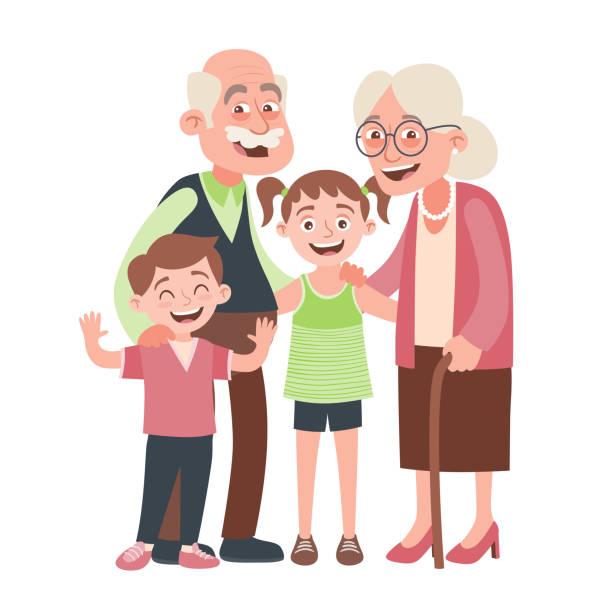 ilustraciones, imágenes clip art, dibujos animados e iconos de stock de abuelos y nietos - nietos