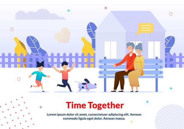 illustrazioni stock, clip art, cartoni animati e icone di tendenza di grandparents and grandchildren walking poster - nonna e nipote camminare