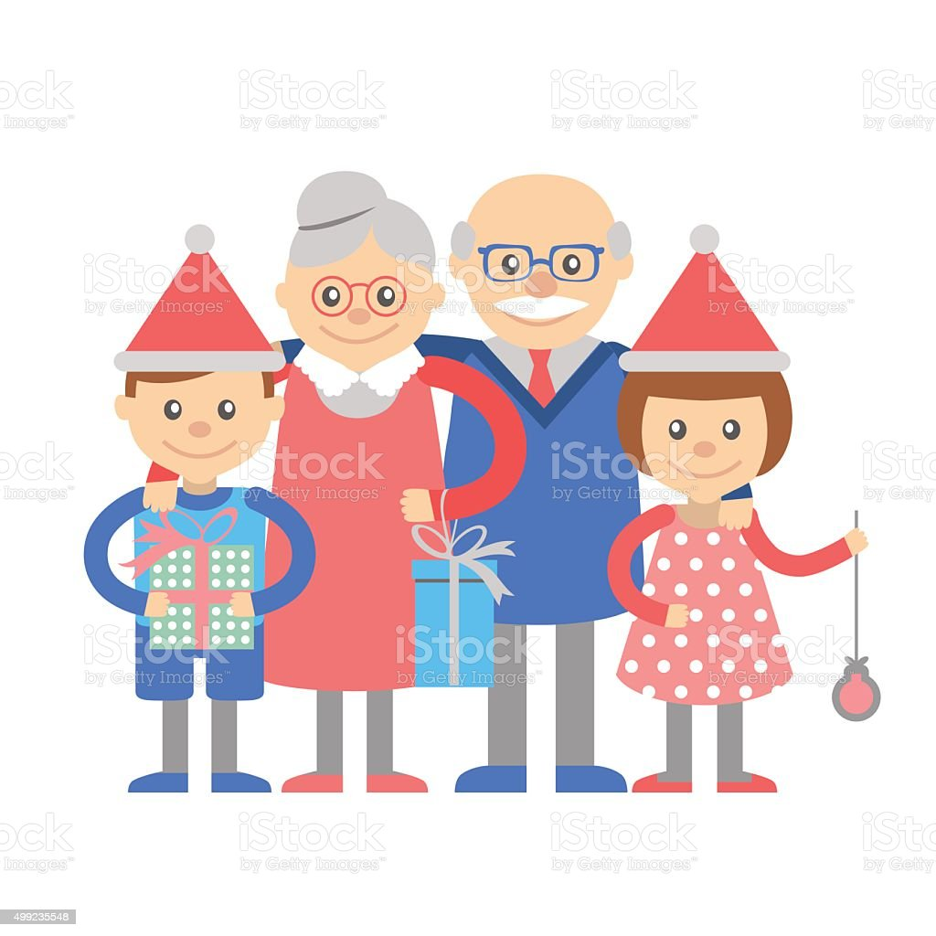 Grandparents And Grandchildren With Christmas Gifts Stock Vector Art ...