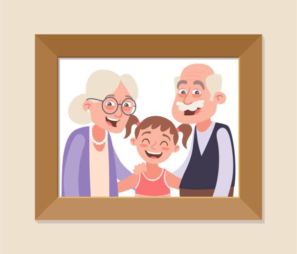 illustrazioni stock, clip art, cartoni animati e icone di tendenza di grandparents and granddaughter photo - grandparents