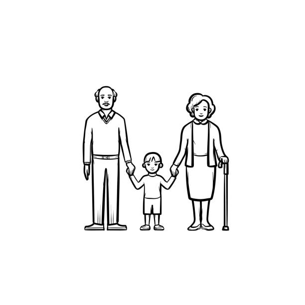 ilustraciones, imágenes clip art, dibujos animados e iconos de stock de abuelos y nieto icono de esbozo dibujado a mano - nietos