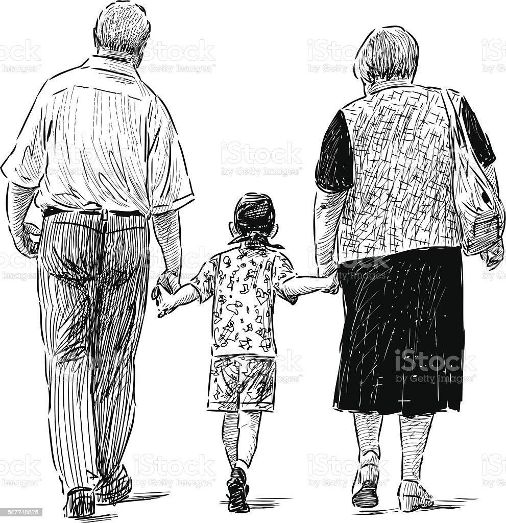 Avós e neto - ilustração de arte em vetor
