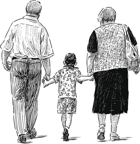 ilustraciones, imágenes clip art, dibujos animados e iconos de stock de abuelos y nieto - nietos