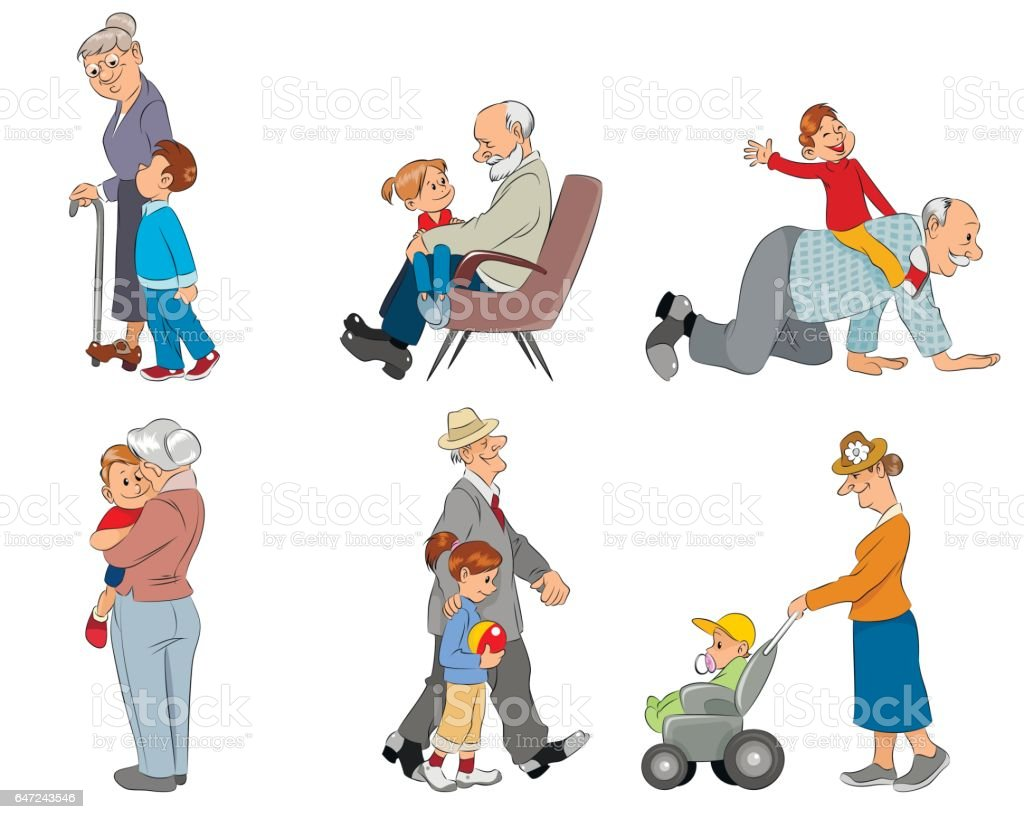 Grandparents and grandsons vector art illustration